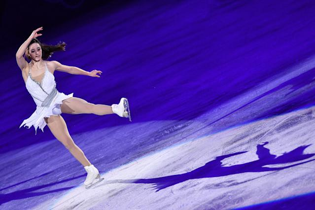 <p>Canada's Kaetlyn Osmond performs during the figure skating gala event during the Pyeongchang 2018 Winter Olympic Games at the Gangneung Oval in Gangneung on February 25, 2018. / AFP PHOTO / Mladen ANTONOV (Photo credit should read MLADEN ANTONOV/AFP/Getty Images) </p>