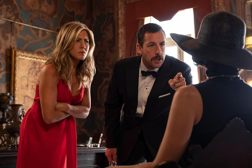 "<p>Adam Sandler and Jennifer Aniston star in this Netflix original about a New York City cop and his wife who become embroiled in a murder mystery (duh) involving an elderly billionaire during their European vacation. Obviously, shenanigans ensue. But can you solved the crime before our protagonists figure it out on their own? </p> <p><a href=""https://www.netflix.com/title/80242619"" rel=""nofollow noopener"" target=""_blank"" data-ylk=""slk:Available to stream on Netflix."" class=""link rapid-noclick-resp""><em>Available to stream on Netflix.</em></a></p>"