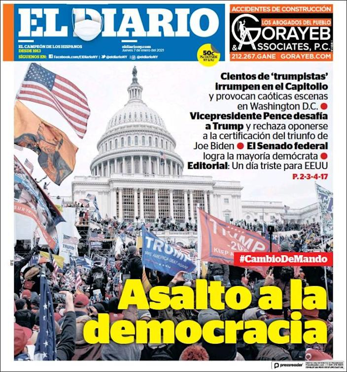 Front page of El Diario on Thursday
