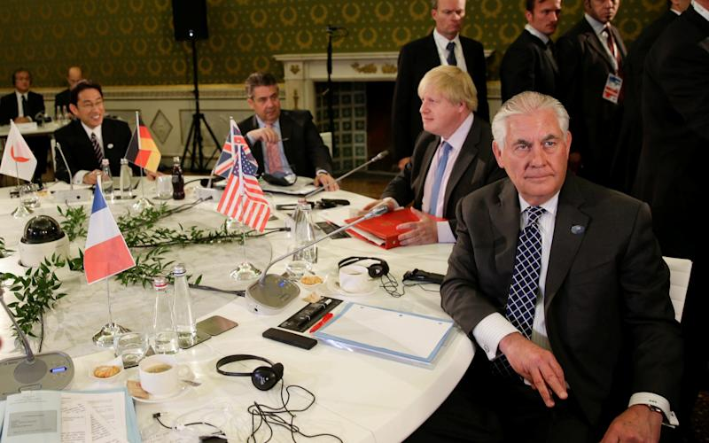 Right to left: US secretary of state Rex Tillerson, Foreign Secretary Boris Johnson, German foreign minister Sigmar Gabriel, and Japanese minister of foreign affairs Fumio Kishida - Credit: REUTERS