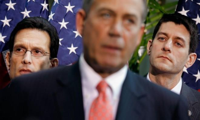 House Majority Leader Eric Cantor and House Budget Committee Chairman Paul Ryan listen to Speaker of the House John Boehner.
