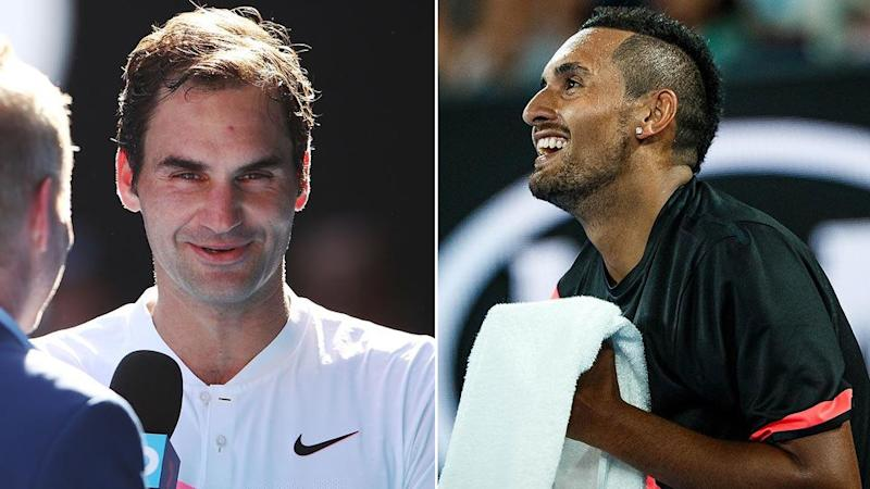 Federer and Kyrgios. Pic: Getty