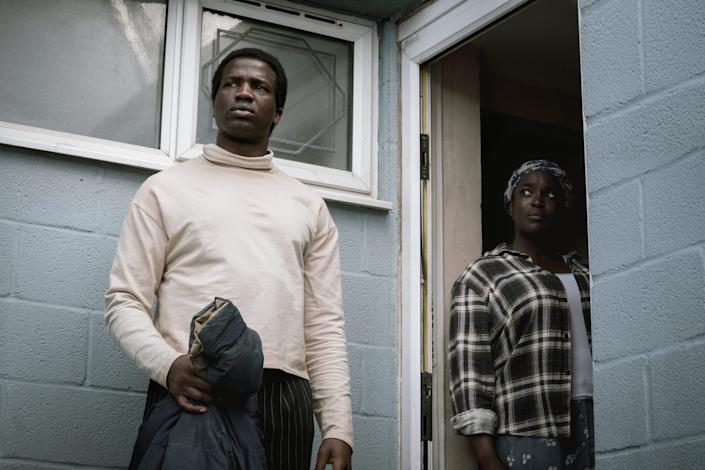 """Ṣọpẹ Dìrísù (left) and Wunmi Mosaku star as a couple who escape war-torn South Sudan and have trouble adjusting to their new life in a small English town in """"His House."""""""