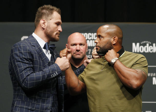 Stipe Miocic, left, and Daniel Cormier pose during a news conference for UFC 226 on Thursday in Las Vegas. (AP)