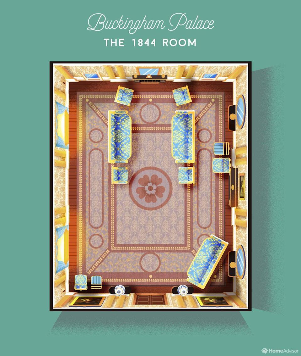 <p>Next up, we have one of the most important rooms in the palace, the 1844 Room, where the royals receive many of their most distinguished visitors (think presidents and A-list celebrities). <br></p>