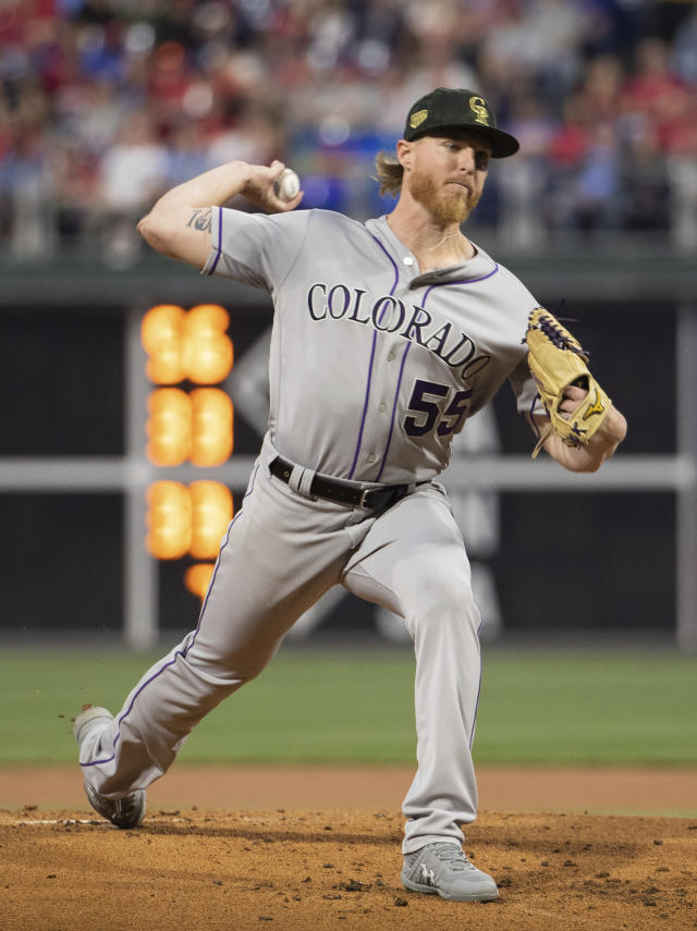 Colorado Rockies starting pitcher Jon Gray throws a pitch during the first inning of a baseball game against the Philadelphia Phillies, Friday, May 17, 2019, in Philadelphia. (AP Photo/Chris Szagola)