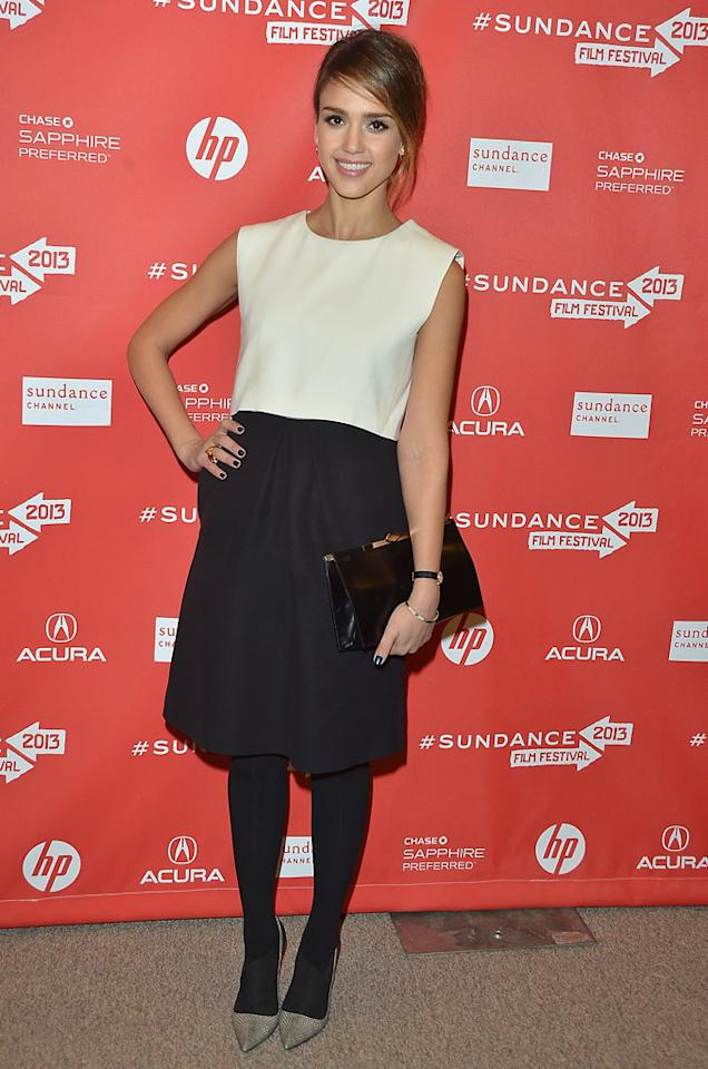 "PARK CITY, UT - JANUARY 23:  Actress Jessica Alba attends the ""A.C.O.D"" Premiere during the 2013 Sundance Film Festival at Eccles Center Theatre on January 23, 2013 in Park City, Utah.  (Photo by George Pimentel/Getty Images)"