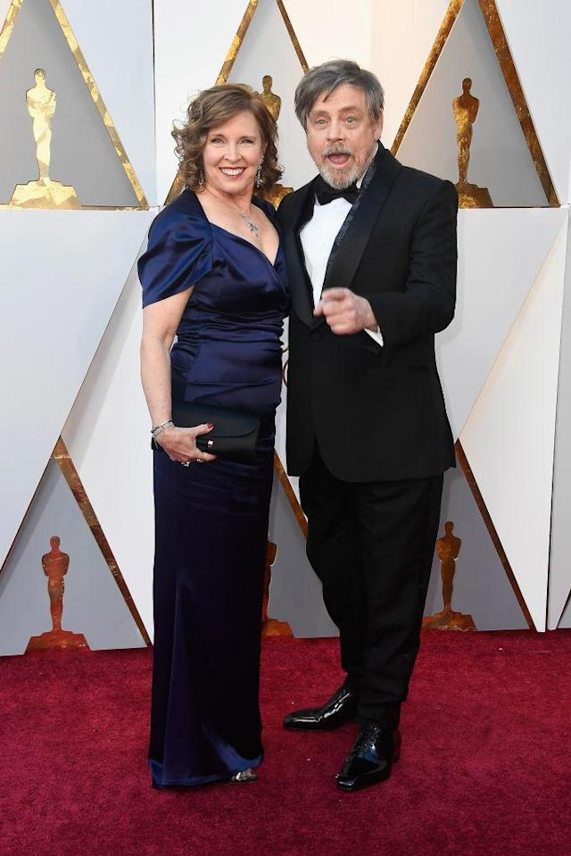 <p>Marilou York (L) and Mark Hamill attend the 90th Academy Awards in Hollywood, Calif., March 4, 2018. (Photo: Getty Images) </p>