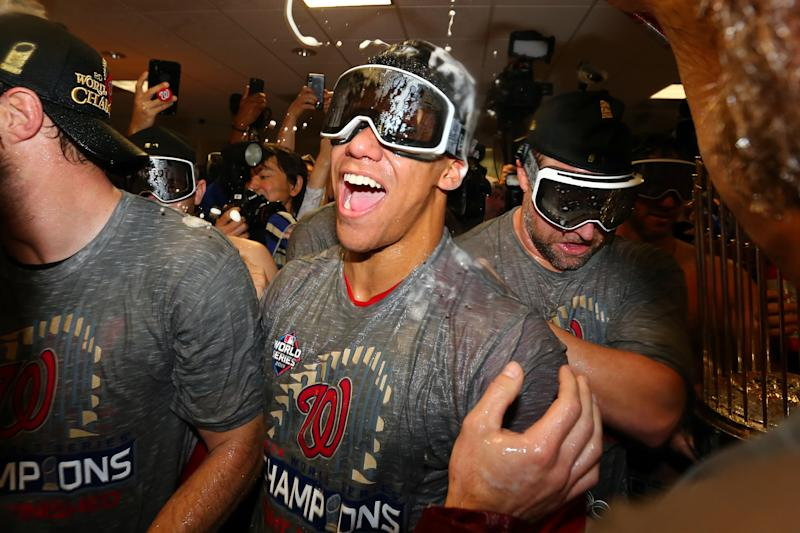 Juan Soto finally got the celebrate like a postseason win like an adult after turning 21 during the World Series. (Photo by Alex Trautwig/MLB Photos via Getty Images)