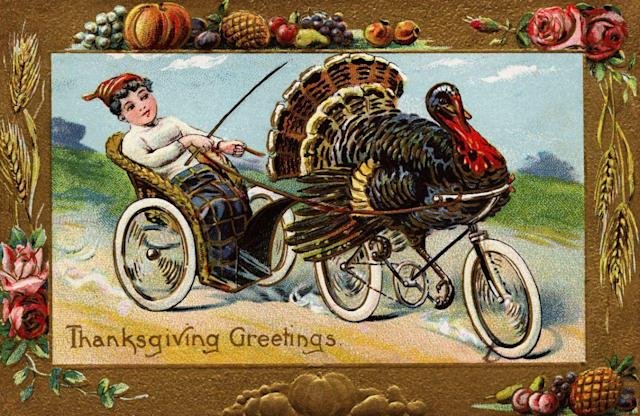 1910 — Thanksgiving Greetings Postcard by Frances Brundage — Image by © Swim Ink 2, LLC/Corbis via Getty Images