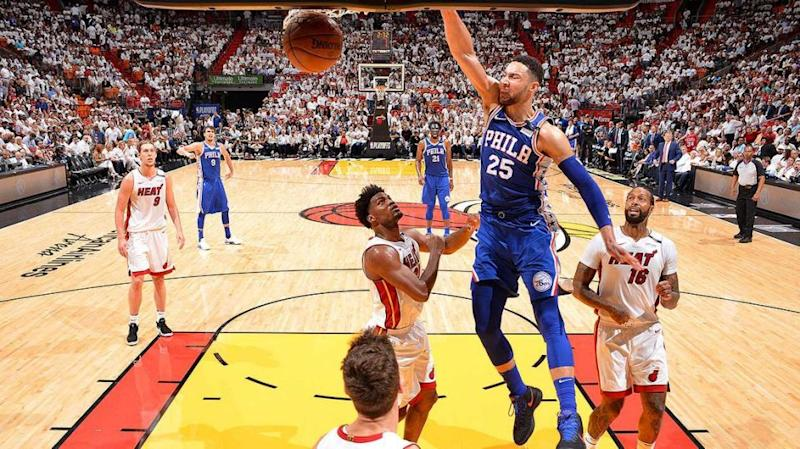Simmons with an NBA Playoffs triple double. Pic: Getty