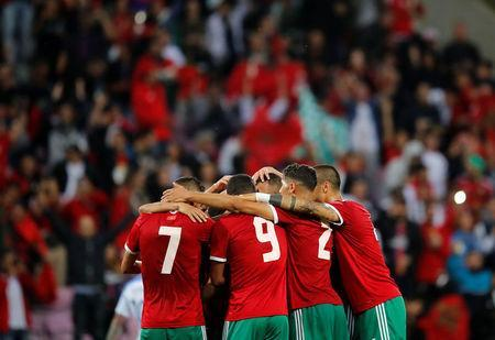 Soccer Football - International Friendly - Morocco vs Slovakia - Stade de Geneve, Geneva, Switzerland - June 4, 2018 Morocco's Younes Belhanda celebrates scoring their second goal with team mates REUTERS/Denis Balibouse