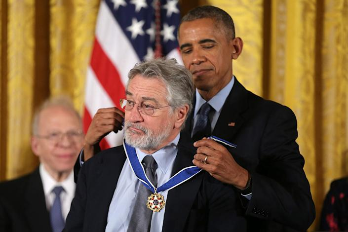 <p>President Obama awards the Presidential Medal of Freedom to actor Robert De Niro in the East Room of the White House, Nov. 22, 2016. (Carlos Barria/Reuters) </p>