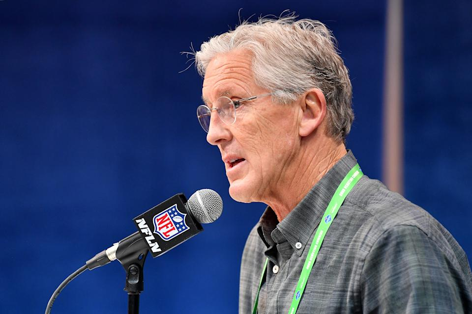 INDIANAPOLIS, INDIANA - FEBRUARY 25: Head coach Pete Carroll of the Seattle Seahawks interviews during the first day of the NFL Scouting Combine at Lucas Oil Stadium on February 25, 2020 in Indianapolis, Indiana. (Photo by Alika Jenner/Getty Images)