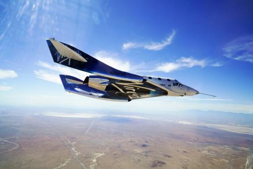 The Virgin Galactic VSS Unity, seen during a test flight over the Mojave desert in California on May 29, 2018