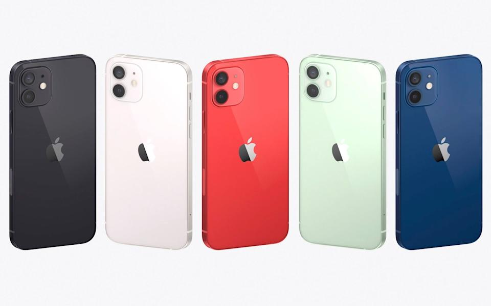 This image provided by Apple shows a display of the new iPhones equipped with technology for use with faster new 5G wireless networks that Apple unveiled Tuesday, Oct. 13, 2020 - AP/Apple