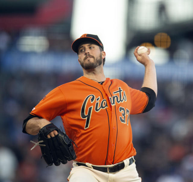 San Francisco Giants starting pitcher Drew Pomeranz delivers against the Los Angeles Dodgers during the second inning of a baseball game Friday, June 7, 2019, in San Francisco. (AP Photo/D. Ross Cameron)