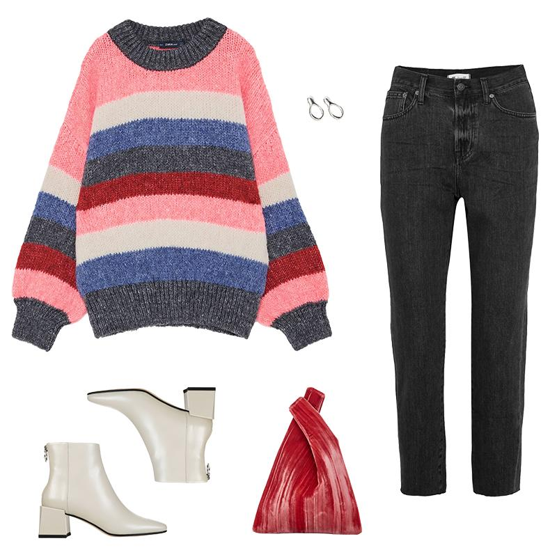 """<a rel=""""nofollow"""" href=""""https://www.zara.com/us/en/multicolored-striped-sweater-p01822105.html?v1=5179009&v2=541559%20%20"""">Multicolored Striped Sweater, Zara, $40<p>Balance a striped knit with voluminous sleeves by pairing with high-rise vintage-wash denim and sleek ankle boots. A colorful bag and cool earrings offer an additional pop without feeling over the top.</p> </a><a rel=""""nofollow"""" href=""""https://rstyle.me/~afMg9%20%20"""">The Perfect Summer Cropped High-Rise Straight-Leg Jeans, Madewell, $130<p>Balance a striped knit with voluminous sleeves by pairing with high-rise vintage-wash denim and sleek ankle boots. A colorful bag and cool earrings offer an additional pop without feeling over the top.</p> </a><a rel=""""nofollow"""" href=""""http://www.viaspiga.com/Shopping/ProductDetails.aspx?p=EC2507852&pg=5255378"""">Lara Booties, Via Spiga, $350<p>Balance a striped knit with voluminous sleeves by pairing with high-rise vintage-wash denim and sleek ankle boots. A colorful bag and cool earrings offer an additional pop without feeling over the top.</p> </a><a rel=""""nofollow"""" href=""""https://click.linksynergy.com/deeplink?id=30KlfRmrMDo&mid=37385&murl=https%3A%2F%2Fwww.modaoperandi.com%2Fhayward-r18%2Frolled-velvet-mini-shopper"""">Rolled Velvet Mini Shopper, Hayward, $590<p>Balance a striped knit with voluminous sleeves by pairing with high-rise vintage-wash denim and sleek ankle boots. A colorful bag and cool earrings offer an additional pop without feeling over the top.</p> </a>"""