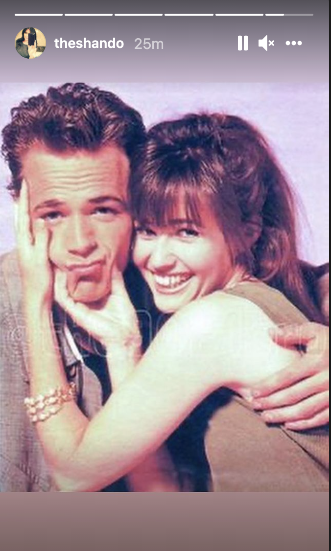 Luke Perry and Shannen Doherty together in the early '90s. (Photo: Instagram)