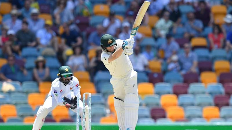 Steve Smith has had a rare failure, bowled for four on day three of the first Test against Pakistan