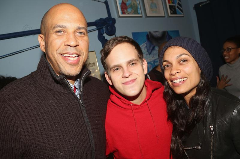 "Senator Cory Booker, Taylor Trensch and Rosario Dawson pose backstage at the hit Tony Winning Musical ""Dear Evan Hansen"" on Broadway at The Music Box Theatre in 2019 in New York City. (Photo: Bruce Glikas/Bruce Glikas/WireImage)"