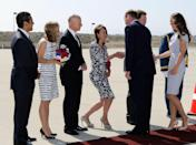"""<p>Although many attempt the traditional greeting, royal protocol <a href=""""https://www.royal.uk/greeting-member-royal-family"""" rel=""""nofollow noopener"""" target=""""_blank"""" data-ylk=""""slk:does not require"""" class=""""link rapid-noclick-resp"""">does not require</a> women to curtsy when meeting a member of the royal family. </p>"""