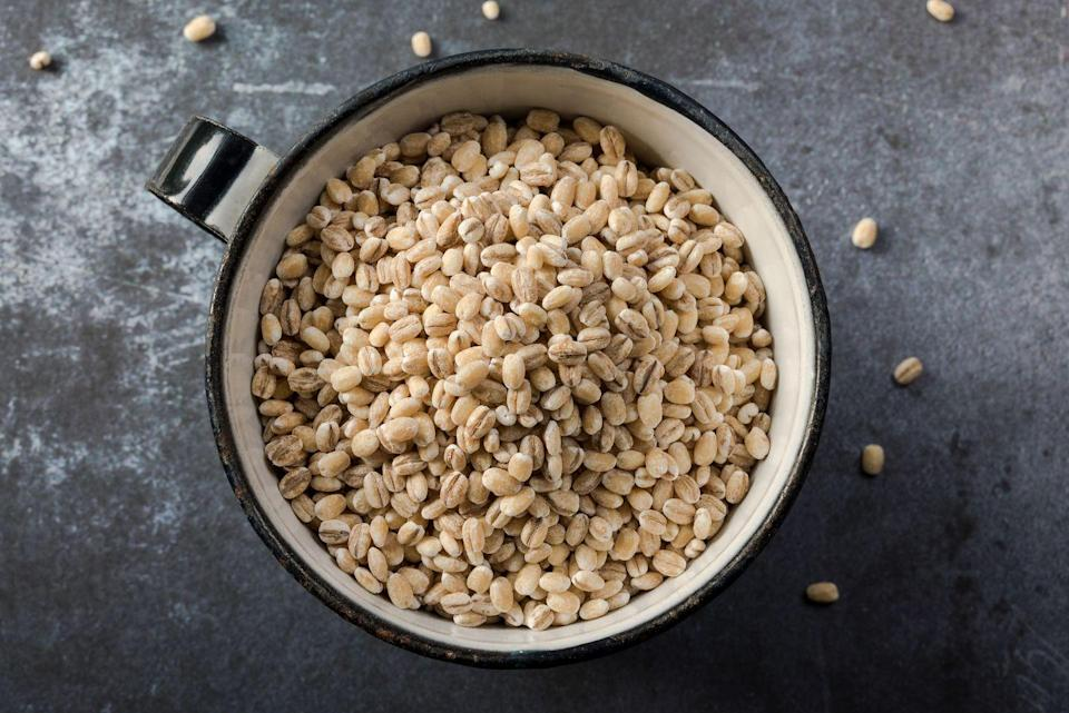 """<p>""""Most people only know barley as something to throw into soup, but it's fantastic as a base for grain bowls and breakfast bowls,"""" says <a href=""""http://www.franceslargemanroth.com/"""" rel=""""nofollow noopener"""" target=""""_blank"""" data-ylk=""""slk:Frances Largeman-Roth"""" class=""""link rapid-noclick-resp"""">Frances Largeman-Roth</a>, R.D.N., author of <em><a href=""""https://www.amazon.com/Eating-Color-Delicious-Healthy-Recipes-ebook/dp/B00GMIRLG0/?tag=syn-yahoo-20&ascsubtag=%5Bartid%7C10050.g.35715141%5Bsrc%7Cyahoo-us"""" rel=""""nofollow noopener"""" target=""""_blank"""" data-ylk=""""slk:Eating in Color"""" class=""""link rapid-noclick-resp"""">Eating in Color</a></em> and creator of the <a href=""""http://www.franceslargemanroth.com/become-an-flr-vip-2/"""" rel=""""nofollow noopener"""" target=""""_blank"""" data-ylk=""""slk:FLR VIP Program"""" class=""""link rapid-noclick-resp"""">FLR VIP Program</a>. """"Barley is highest in fiber of all the whole grains. One type of fiber it contains, beta-glucan, helps reduce LDL (bad) <a href=""""https://www.prevention.com/health/a20491858/the-ultimate-guide-to-managing-your-cholesterol/"""" rel=""""nofollow noopener"""" target=""""_blank"""" data-ylk=""""slk:cholesterol"""" class=""""link rapid-noclick-resp"""">cholesterol</a>, stabilize blood sugar, and boost the immune system. Barley is also rich in resistant starch, a type of carbohydrate that acts like fiber, helping you feel full longer, which can boost weight loss."""" Bored of your usual work lunch? Try this <a href=""""https://www.prevention.com/food-nutrition/recipes/a20511205/spinach-barley-salad/"""" rel=""""nofollow noopener"""" target=""""_blank"""" data-ylk=""""slk:Spinach and Barley Salad"""" class=""""link rapid-noclick-resp"""">Spinach and Barley Salad</a>.</p>"""