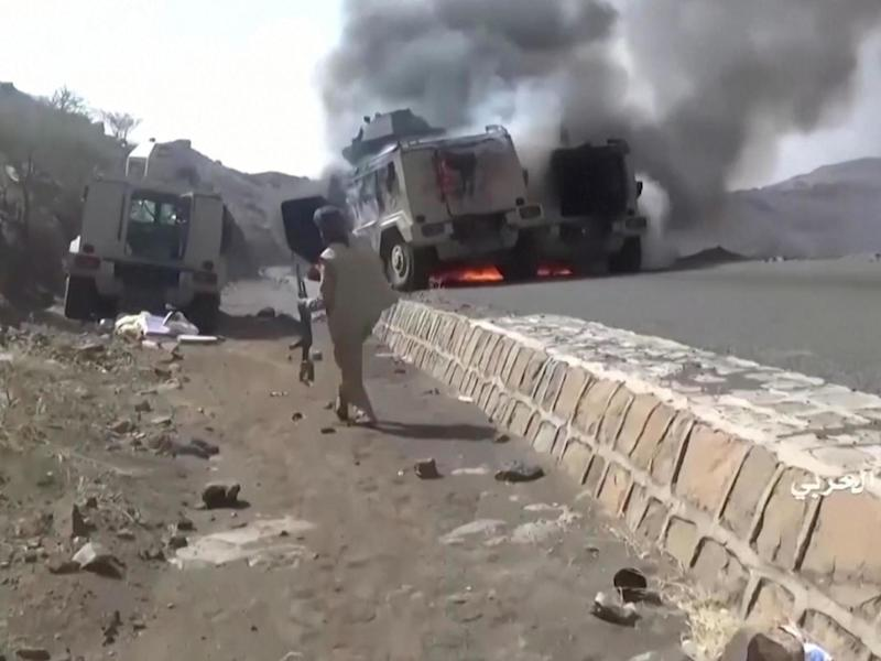 Footage released by the group allegedly shows Saudi military vehicles burning following an attack: Reuters