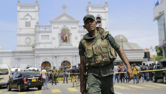 A soldier outside a closed off church in Colombo. Source: AAP