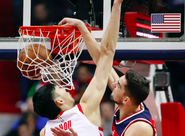 Zhou Qi got dunked on Friday night. (AP Photo/Alex Brandon)