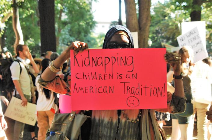 <p>Thousands of Philadelphians gathered in Rittenhouse Square to protest a GOP fundraiser where Mike Pence was speaking about the Trump administration immigration policy that separates the children of families seeking refugee status at the US-Mexico border in Philadelphia on June 19, 2018. (Photo: Cory Clark/NurPhoto via Getty Images) </p>