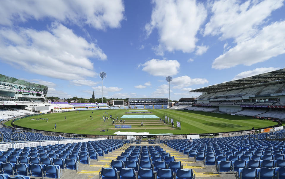 The Indian team take to the field for a nets session at Headingley cricket ground in Leeds, England, Monday, Aug. 23, 2021, ahead of the 3rd Test cricket match between England and India. (AP Photo/Jon Super)