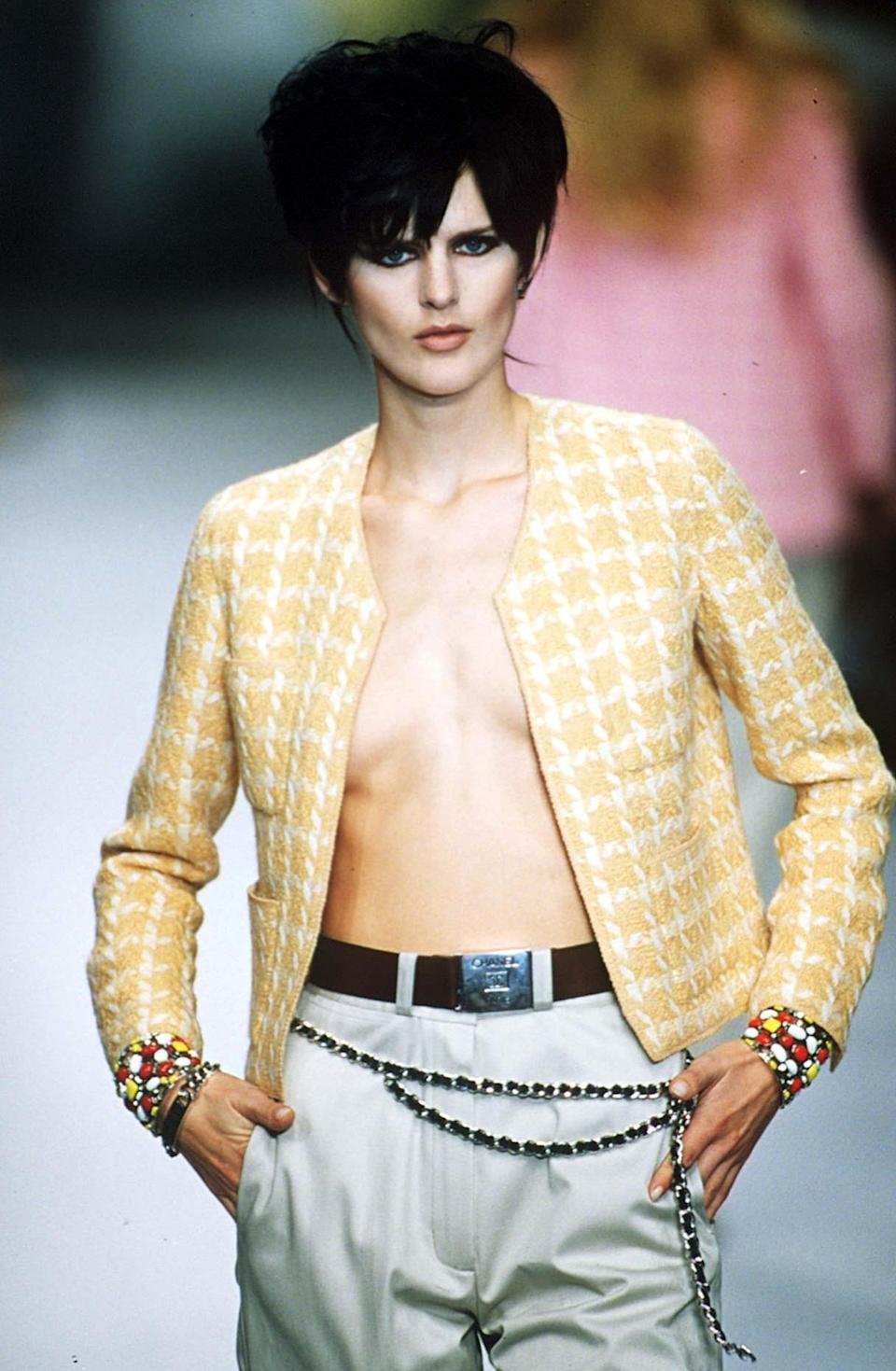 Stella Tennant walks the catwalk for Chanel in Paris in  October 1996Steve Wood/REX