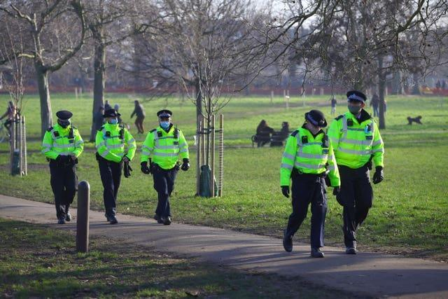 Police presence before a proposed anti-lockdown protest in Clapham Common, London, on Saturday