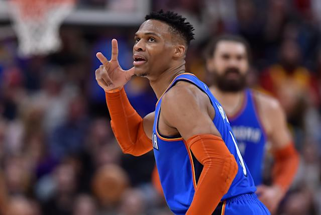 SALT LAKE CITY, UT - MARCH 11: Russell Westbrook #0 of the Oklahoma City Thunder reacts to the crowd after his late game basket in the second half of a NBA game against the Utah Jazz at Vivint Smart Home Arena on March 11, 2019 in Salt Lake City, Utah. (Photo by Gene Sweeney Jr./Getty Images)