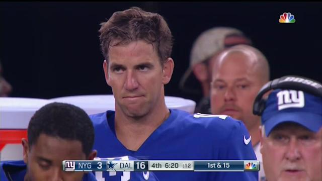 "<a class=""link rapid-noclick-resp"" href=""/nfl/players/6760/"" data-ylk=""slk:Eli Manning"">Eli Manning</a> face: 2017 edition (Screen shot via NBC)"