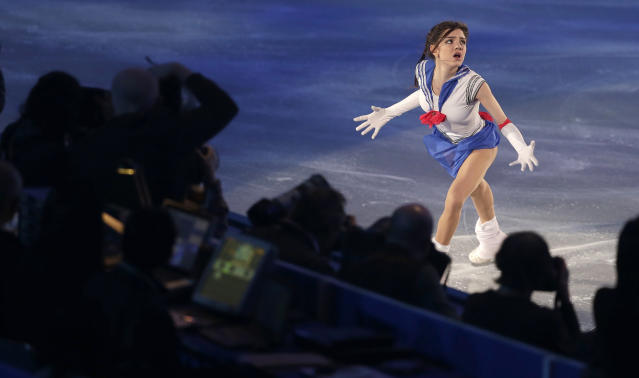 Evgenia Medvedeva of Russia performs during the gale exhibition of the World Team Trophy Figure Skating in Tokyo, Sunday, April, 23, 2017. (AP Photo/Shizuo Kambayashi)