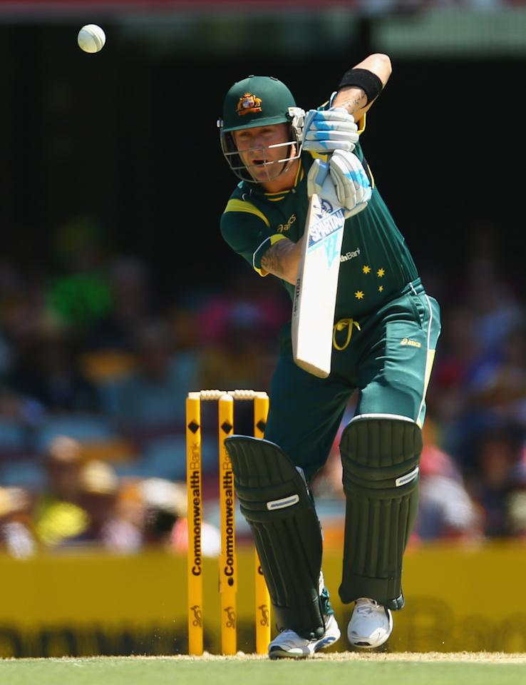 BRISBANE, AUSTRALIA - JANUARY 18: Michael Clarke of Australia bats during game three of the Commonwealth Bank One Day International Series between Australia and Sri Lanka at The Gabba on January 18, 2013 in Brisbane, Australia.  (Photo by Robert Cianflone/Getty Images)
