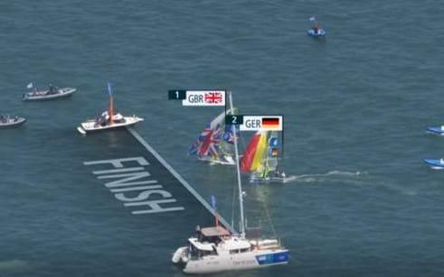 This is how close it was as Dylan Fletcher and Stuart Bithell pipped Germany for the race win and New Zealand for the gold - BBC
