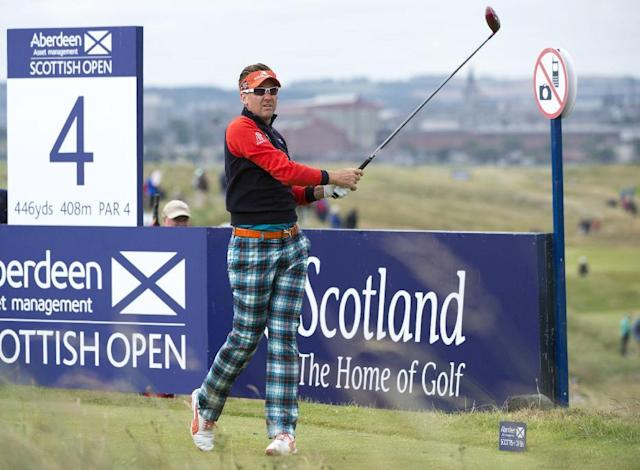 England's Ian Poulter tees off at the 4th during day one of the Scottish Open at Royal Aberdeen golf course, Aberdeen Scotland Thursday July 10, 2014. (AP Photo/Kenny Smith/PA)