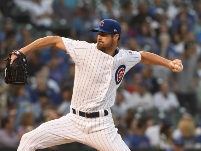 Cole Hamels looks like an ace again with the Cubs. (AP Photo/David Banks)