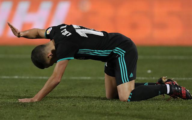 Soccer Football - Spanish King's Cup - Leganes vs Real Madrid - Quarter-Final - First Leg - Butarque Municipal Stadium, Leganes, Spain - January 18, 2018 Real Madrid's Lucas Vazquez reacts after a missed chance REUTERS/Susana Vera