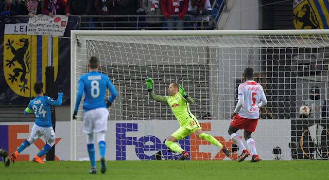 Soccer Football - Europa League Round of 32 Second Leg - RB Leipzig vs Napoli - Red Bull Arena, Leipzig, Germany - February 22, 2018 Napoli's Lorenzo Insigne scores their second goal REUTERS/Matthias Rietschel
