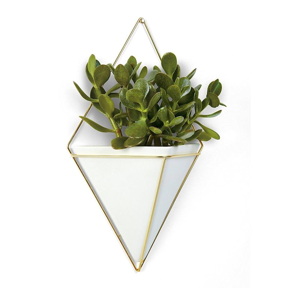 <p>This <span>Hanging Planter Vase and Geometric Wall Decor Container</span> ($21, originally $30) will look great by your bookshelf.</p>