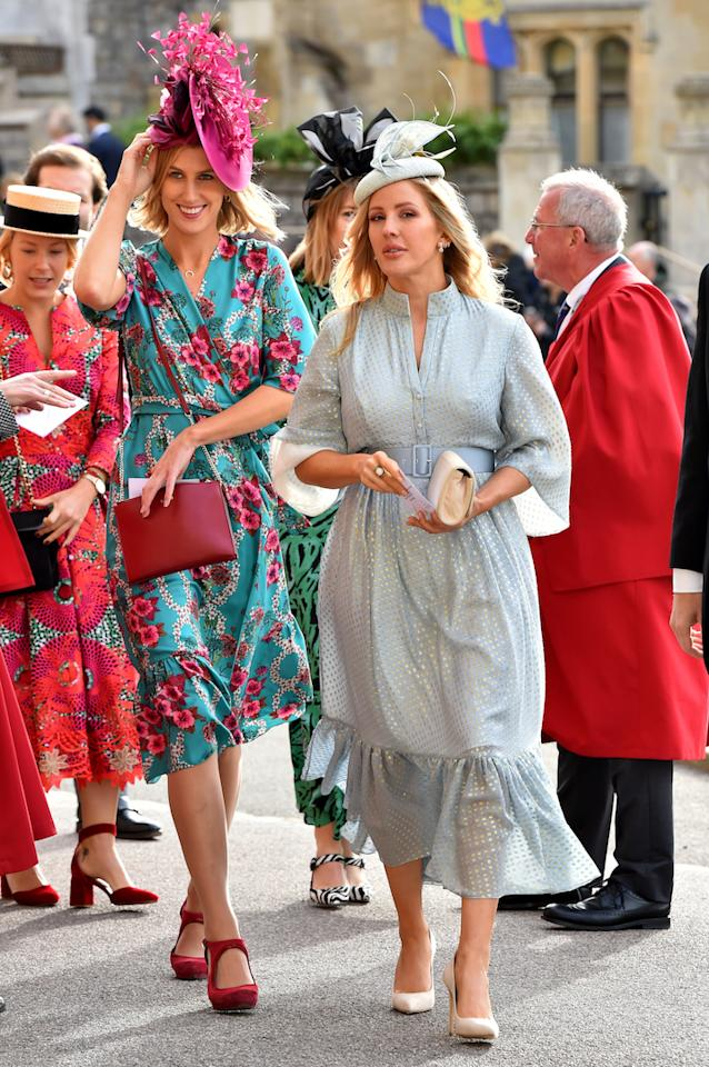 <p>Singer Ellie Goulding opted for a powder blue ensemble at the royal wedding with a co-ordinating fascinator to finish. <em>[Photo: PA]</em> </p>