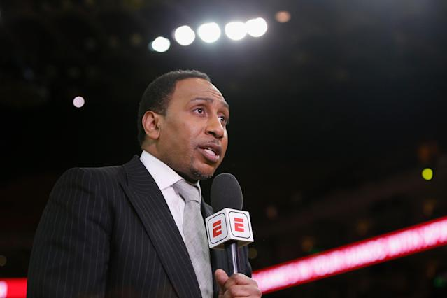 Longtime ESPN commentator Stephen A. Smith was sidelined from work this week with a torn rotator cuff. (Photo by Lachlan Cunningham/Getty Images)