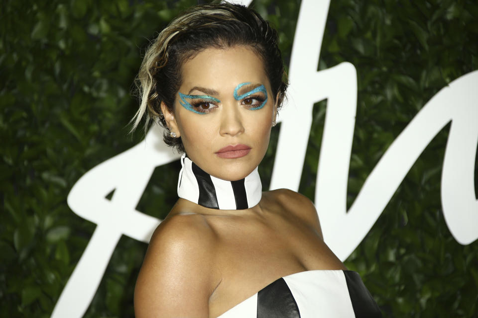 Singer Rita Ora poses for photographers upon arrival at the British Fashion Awards in central London, Monday, Dec. 2, 2019. (Photo by Joel C Ryan/Invision/AP)