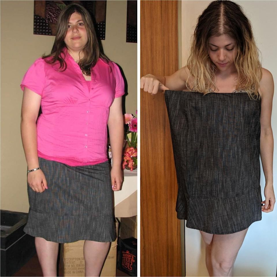 <p>Jess's starting weight was 300 pounds. She has lost a total of 145 pounds, almost half her body weight, and started by losing 70 pounds in college. Then, from 2018 to 2019, she switched up her exercise regimen after falling in love with bodybuilding and personal training and lost another 75 pounds.</p>
