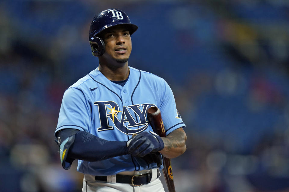 Tampa Bay Rays' Wander Franco reacts after striking out against Boston Red Sox starting pitcher Nick Pivetta during the fourth inning of a baseball game Thursday, June 24, 2021, in St. Petersburg, Fla. (AP Photo/Chris O'Meara)