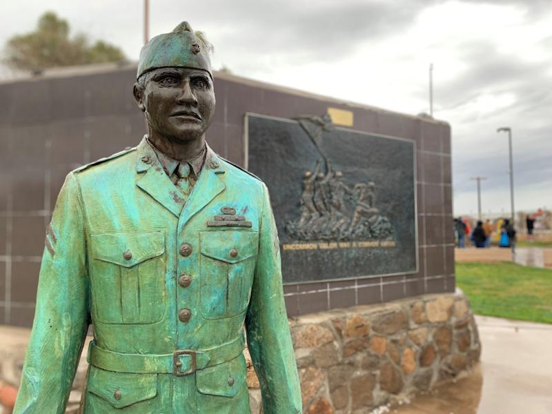 A photo of an Ira Hayes monument in Sacaton on Feb. 22, 2020.